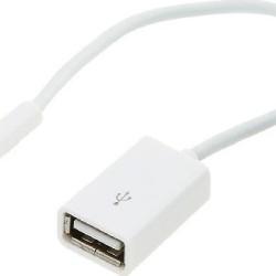 ΜΕΤΑΤΡΟΠΕΑΣ USB  θηλυκό σε 3.5mm αρσενικό καλώδιο λευκό