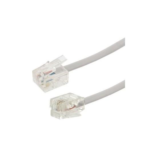 Καλώδιο Συνδέσεως τηλεφώνου με Κλιπς 10m Λευκό