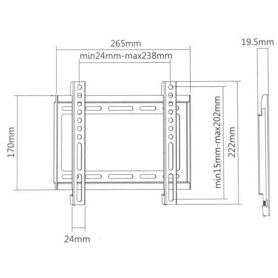 """ΒΑΣΗ ΣΤΗΡΙΞΗΣ TV LCD - LED - PLASMA 23"""" - 42"""" 35KG ΤΟΙΧΟΥ"""