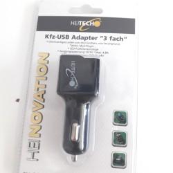 ΦΟΡΤΙΣΤΗΣ ΑΥΤΟΚΙΝΗΤΟΥ ΜΕ ΤΡΙΠΛΟ USB HEITECH 5V / 4,8A